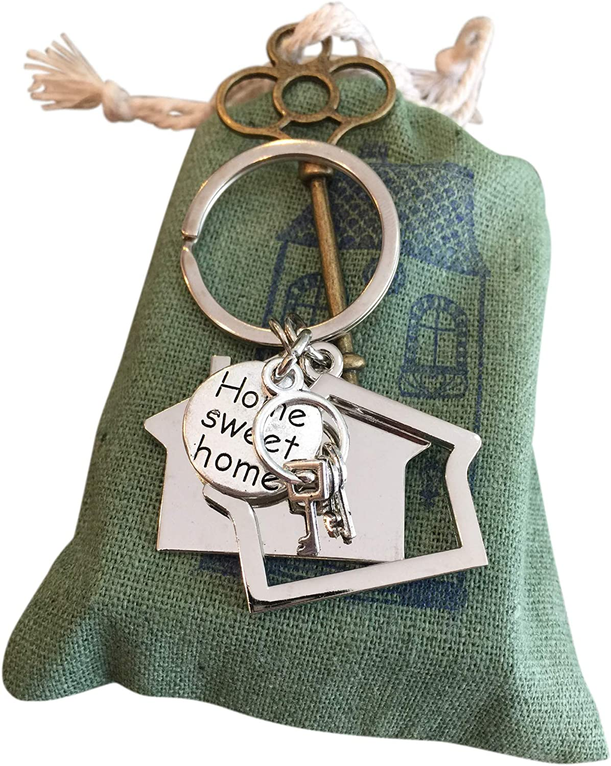 New Home Keychain Gift for New Home Owner Gift for Buying New Home First Home Gift with Brass Key Tag