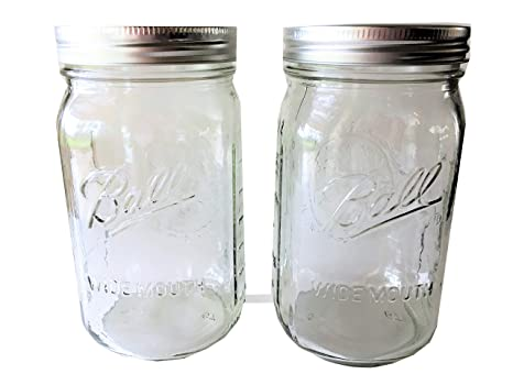 Ball Mason Jar 32 Oz. Clear Glass Ball Wide Mouth Set Of 2 by Ball