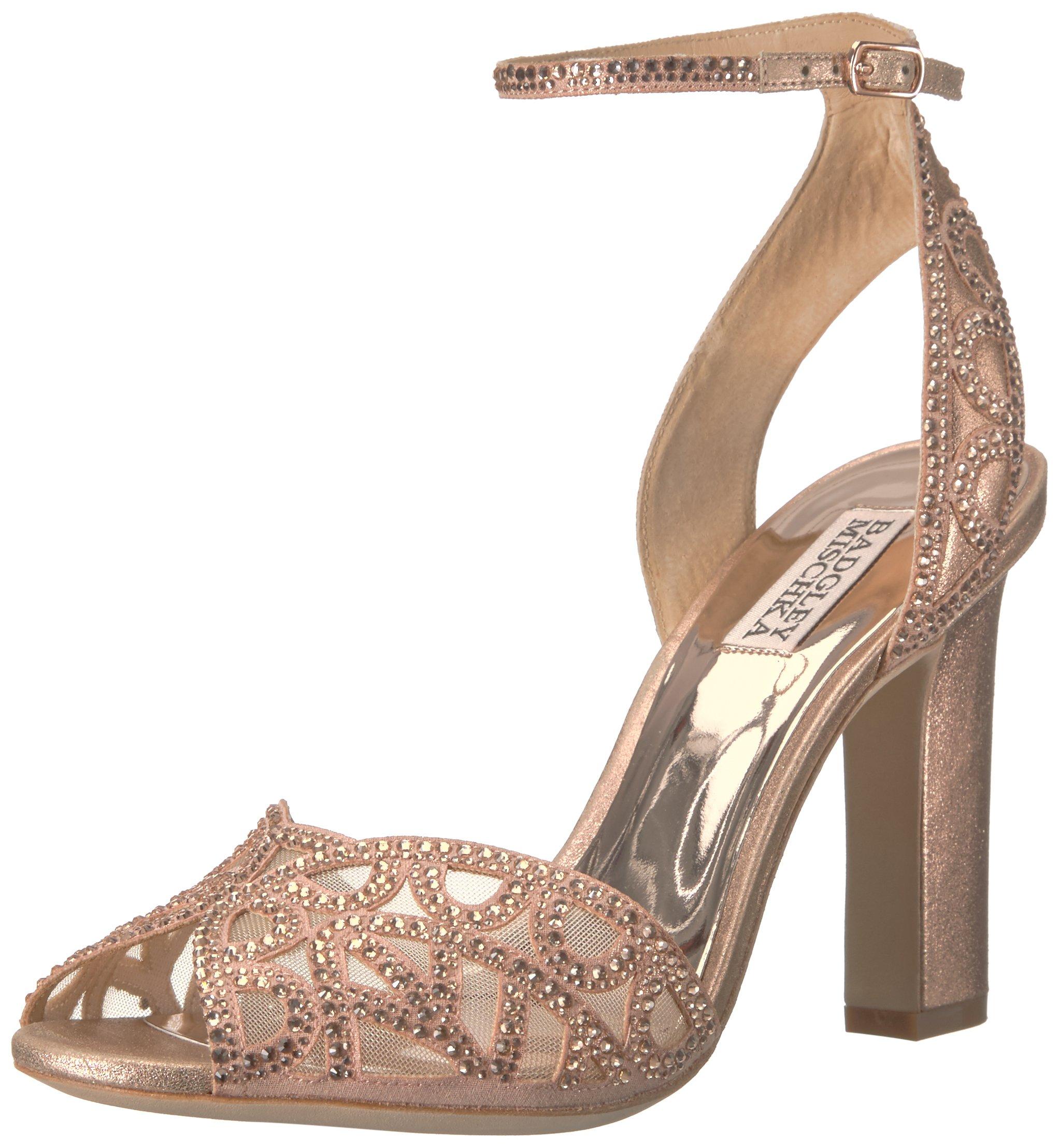 Badgley Mischka Women's Hart Heeled Sandal, Rose Gold, 7.5 M US