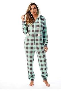 41f736ed3e Just Love Buffalo Plaid Adult Onesie Sherpa Lined Hoody One Piece Pajamas