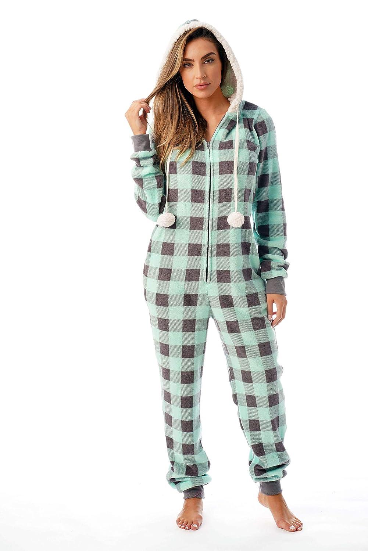 85df8dbe01 Amazon.com  Just Love Buffalo Plaid Adult Onesie Sherpa Lined Hoody One  Piece Pajamas  Clothing