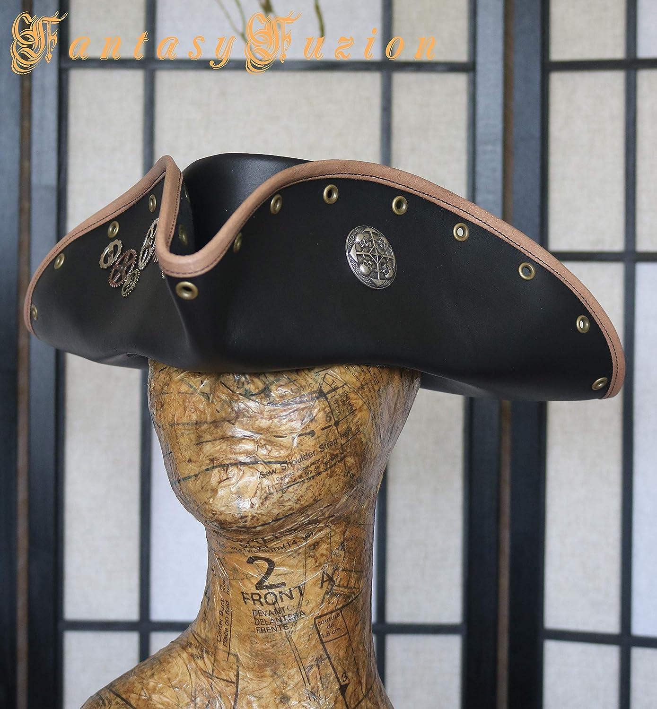 Steampunk Pirate Tricorn Hat Airship Captain Futurist Sci Fi Leather Top Hat