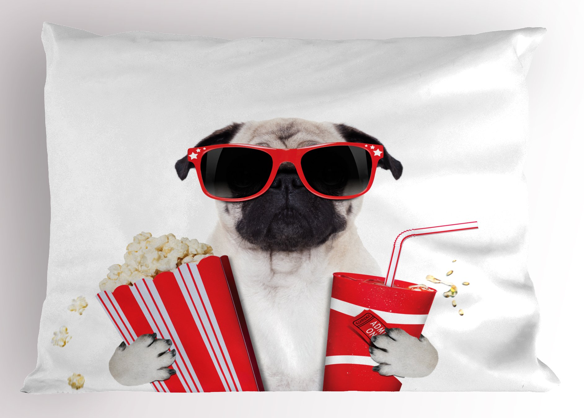 Ambesonne Pug Pillow Sham, Going to The Movies Pug Dog Popcorn Soft Drink Movie Star Glasses Animal Fun Image, Decorative Standard King Size Printed Pillowcase, 36 X 20 inches, Cream Red Black