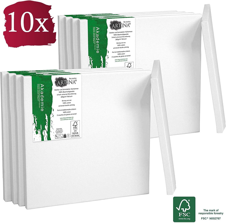 Artina Akademie Keilrahmen FSC/®-Zertifiziert 10er Set 10x10 cm Aus 100/% Baumwolle Leinwand Keilrahmen wei/ß 280g//m/² verzugsfrei