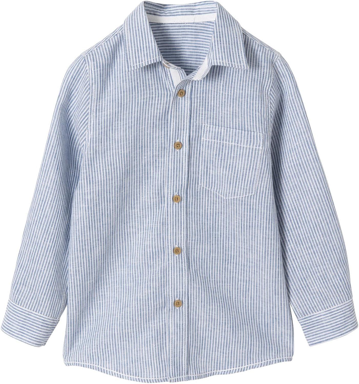 VERTBAUDET Camisa niño de algodón y Lino Azul Claro a Rayas ...
