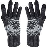 Winter Touch Screen Gloves HÖTER Snow Flower Printing Keep Warm for Women and Men (A1-Women Darkgrey1)