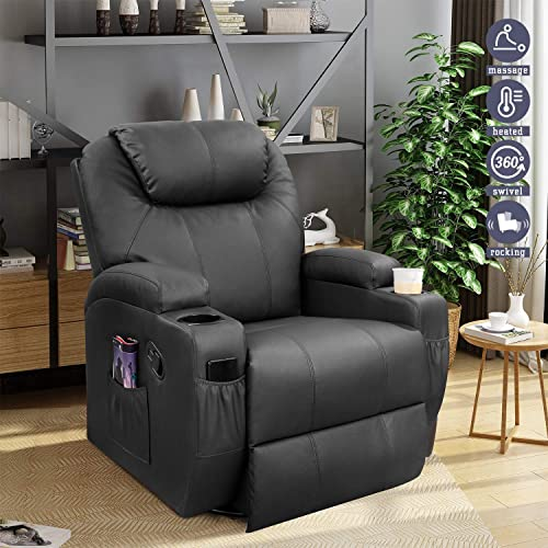 Furniwell Recliner Chair Massage Leather Living Room Chair Home Theater Seating Heated Overstuffed Single Sofa 360 Swivel and Rocking Black