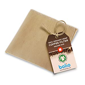 Organic Hemp Square Coffee Filter Reusable and Great for Making Smooth Natural Tasting Pour Over Coffee Eco-Friendly Bacteria Resistant Material Suit with Bolio Chemex Coffee Gator Carafe (1, Chemex)