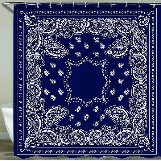 Shower Curtain Set Bathroom Bandana Navy Blue Southwestern Home Decor Curtain Polyester Fabric with Hooks 72 x 72