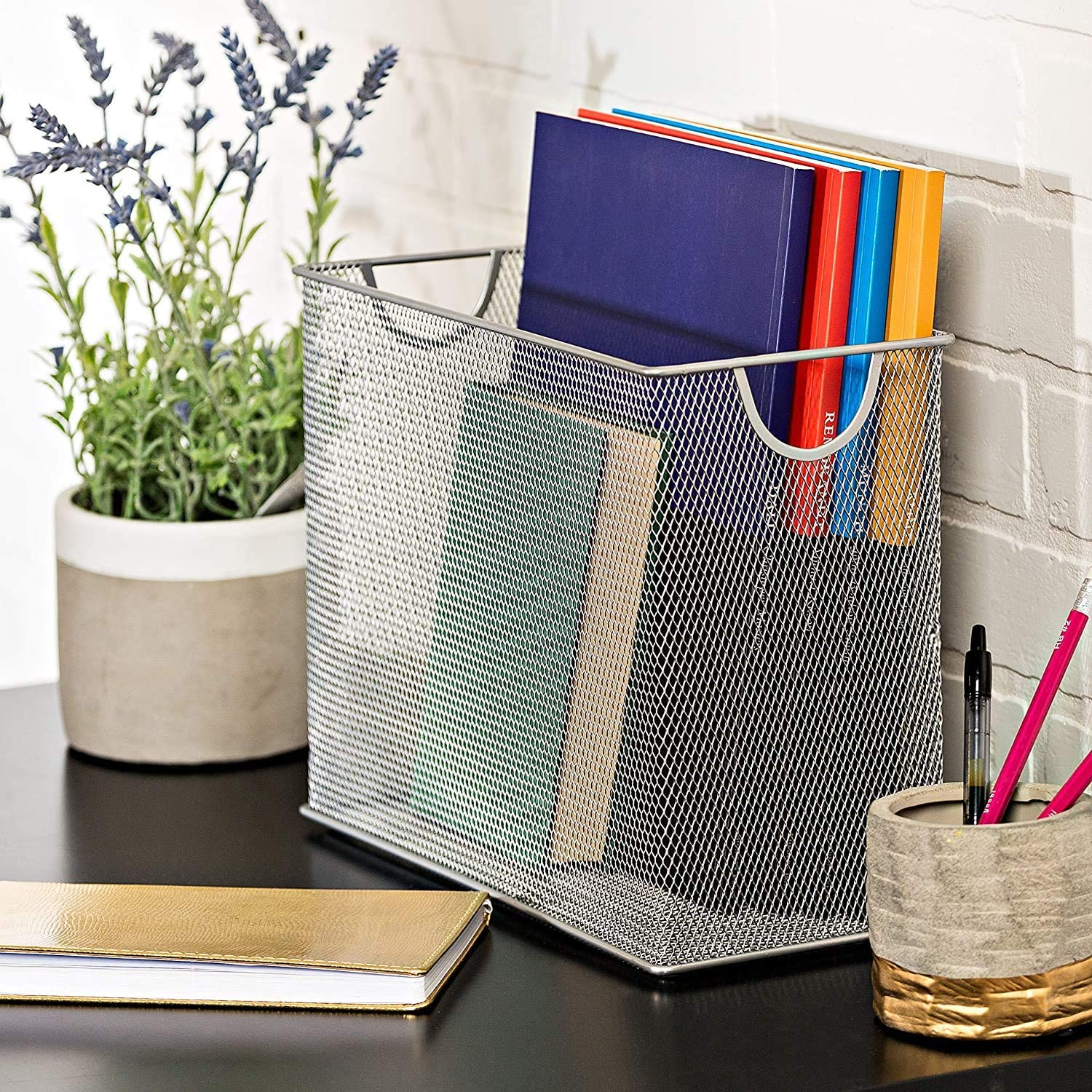 Honey-Can-Do Grey Mesh Tabletop File Folder, Silver, 5.5 x 12.5 x 9.8: Home & Kitchen