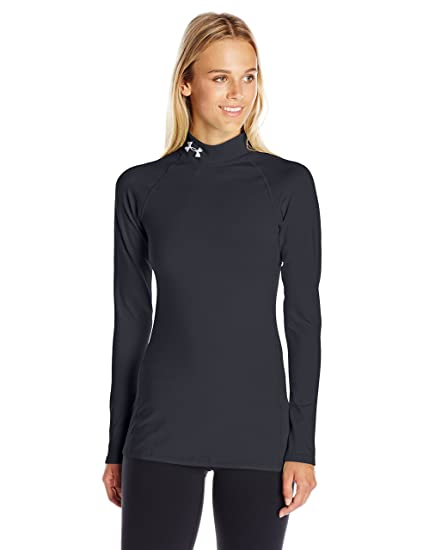Under Armour Women's ColdGear Infrared EVO Mock Long Sleeve, Black/Glacier  Gray, X
