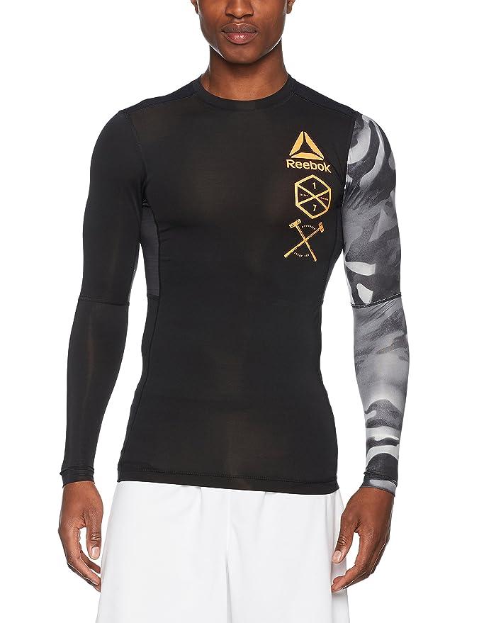 20dc7891 Reebok Men's Active Chill Graphic Comp Long Sleeve T-Shirt, Black ...
