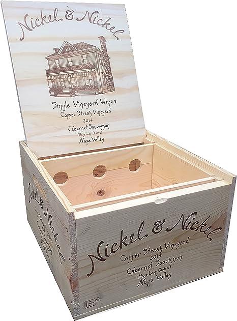 Vineyard Cajas de Vino – Original Níquel y Níquel Caja de Vino de Madera Decorativa con Tapa