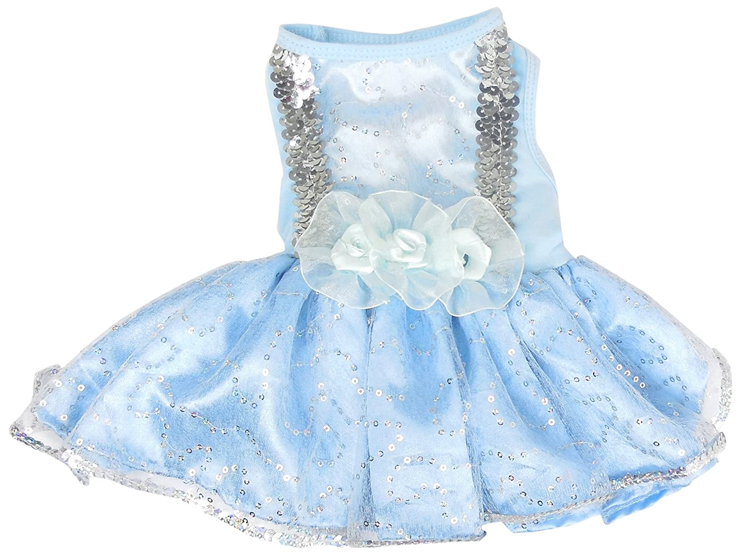 PAWPATU Cinderella Costume for Dogs, X-Small, bluee