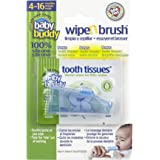 Baby Buddy Wipe N Brush Silicone Toothbrush and Dental Wipe Assistant, Blue