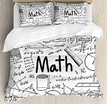 Amazoncom Mathematics Classroom Decor King Size Duvet Cover Set By - Geometrical-shapes-on-bedding