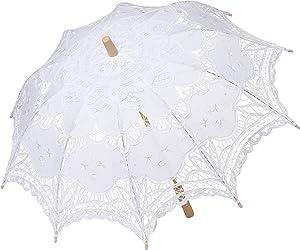 BABEYOND Lace Umbrella Parasol Vintage Wedding Bridal Umbrella for Decoration Photo Lady Costume 1920s Party (White)