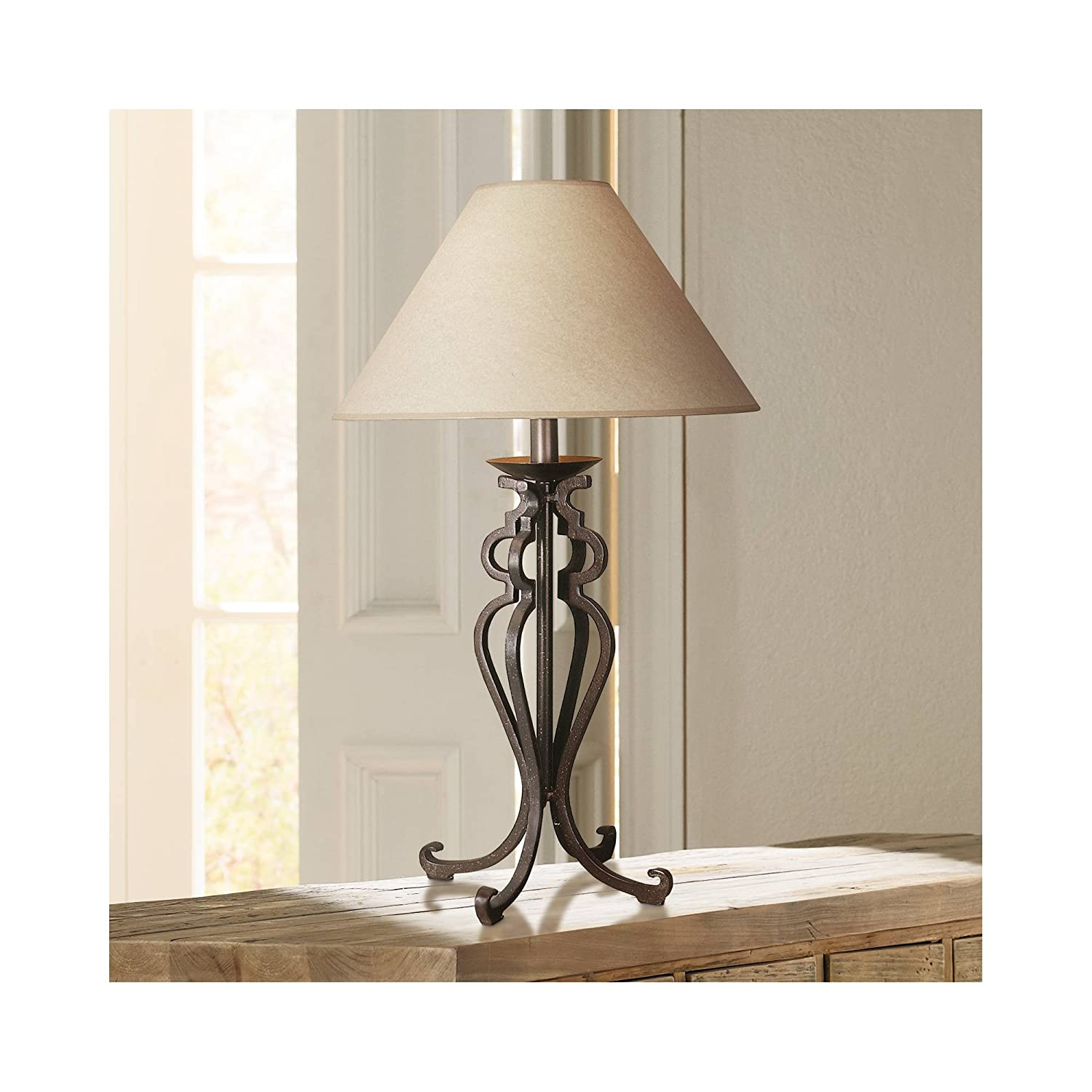 Rustic table lamp open scroll wrought iron parchment empire shade for living room family bedroom bedside franklin iron works amazon com