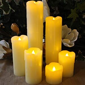 Pack Of 6 Led Dancing Flame Moving Wick Taper Candles