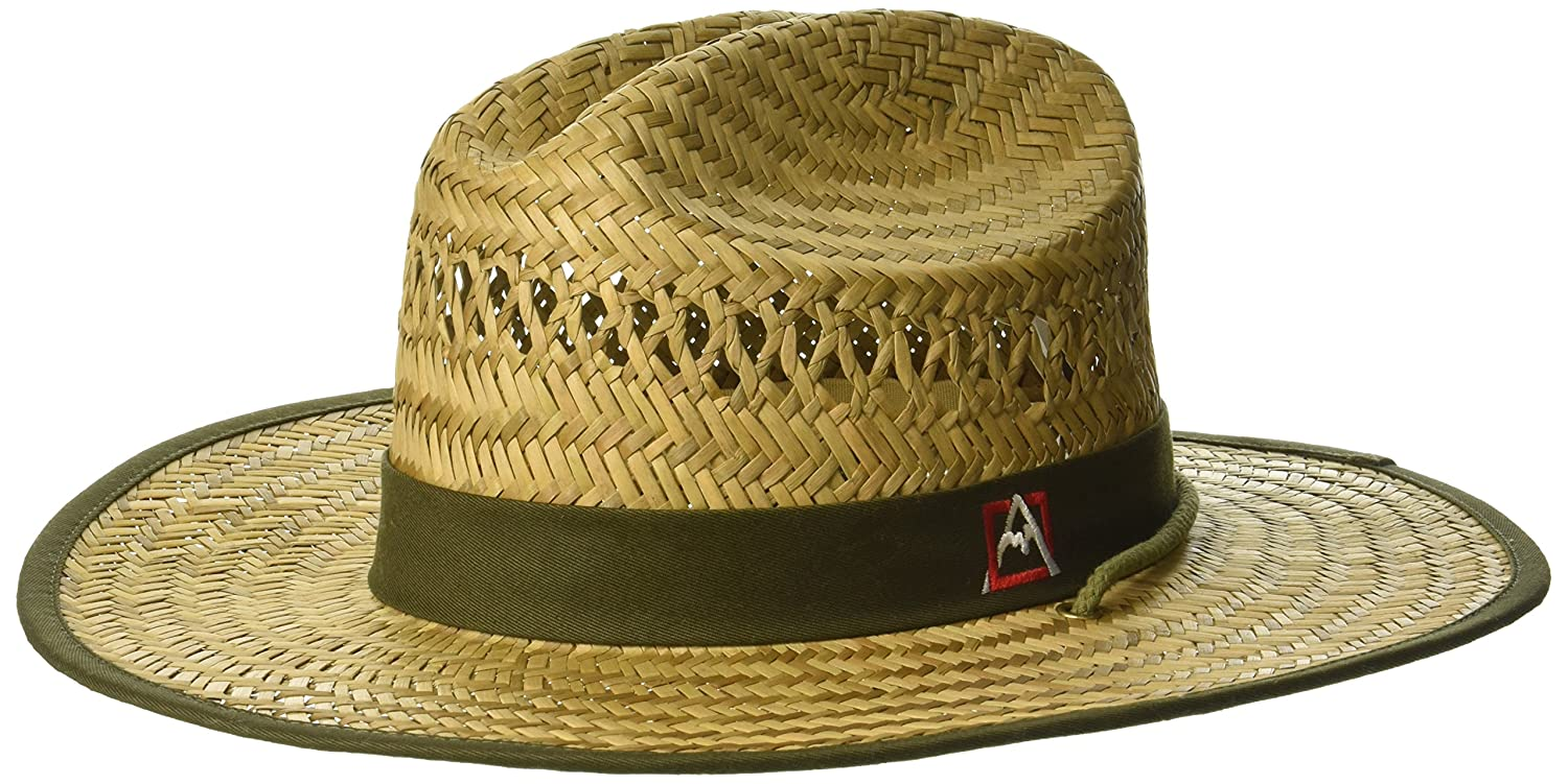 Avalanche Men's Flat Brim Straw Hat, Lifeguard Shape, Natural, one Size ABAV2006AZ-104