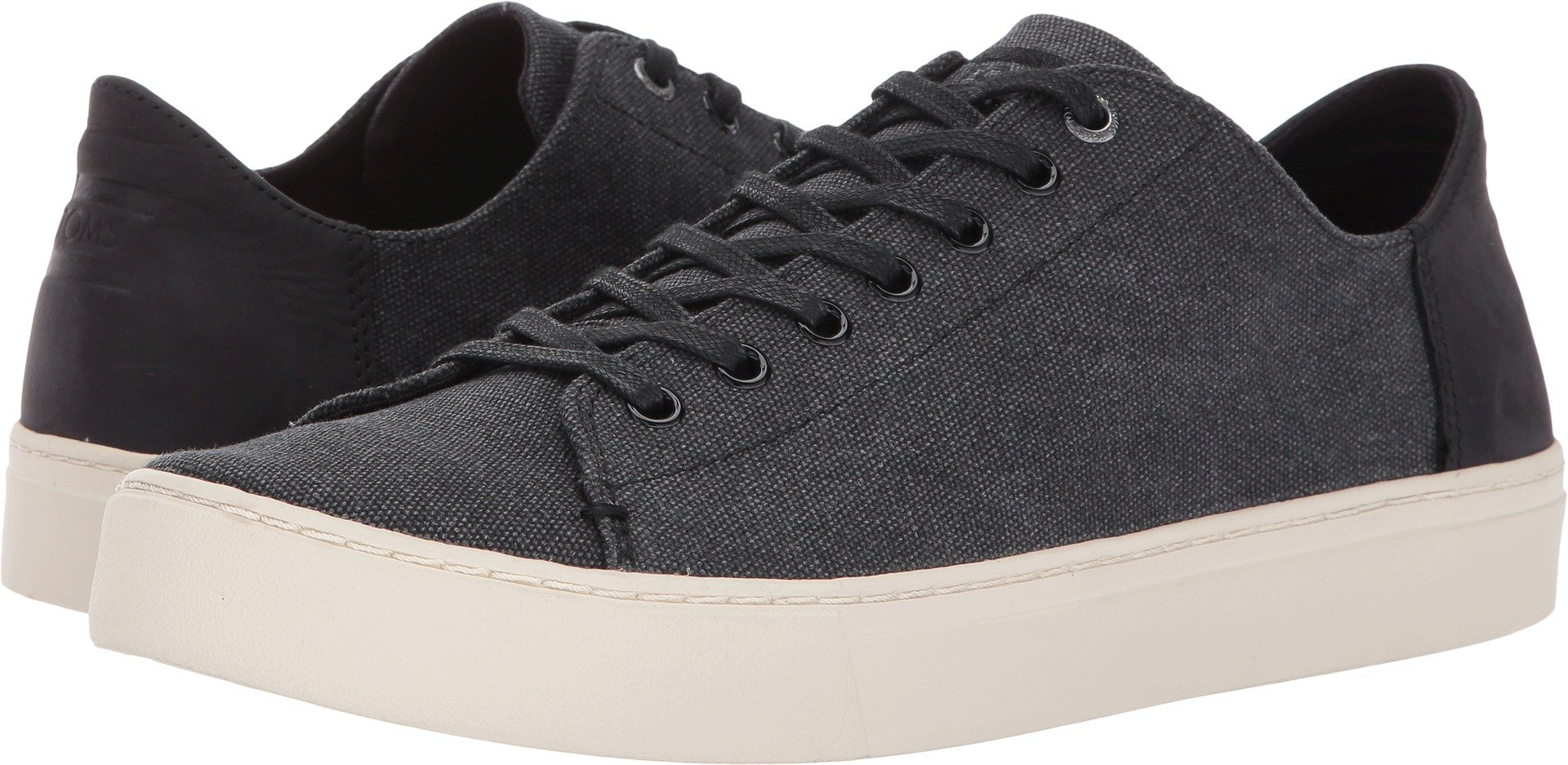TOMS Men's Lenox Black Washed Canvas/Leather Oxford (9 D(M) US)