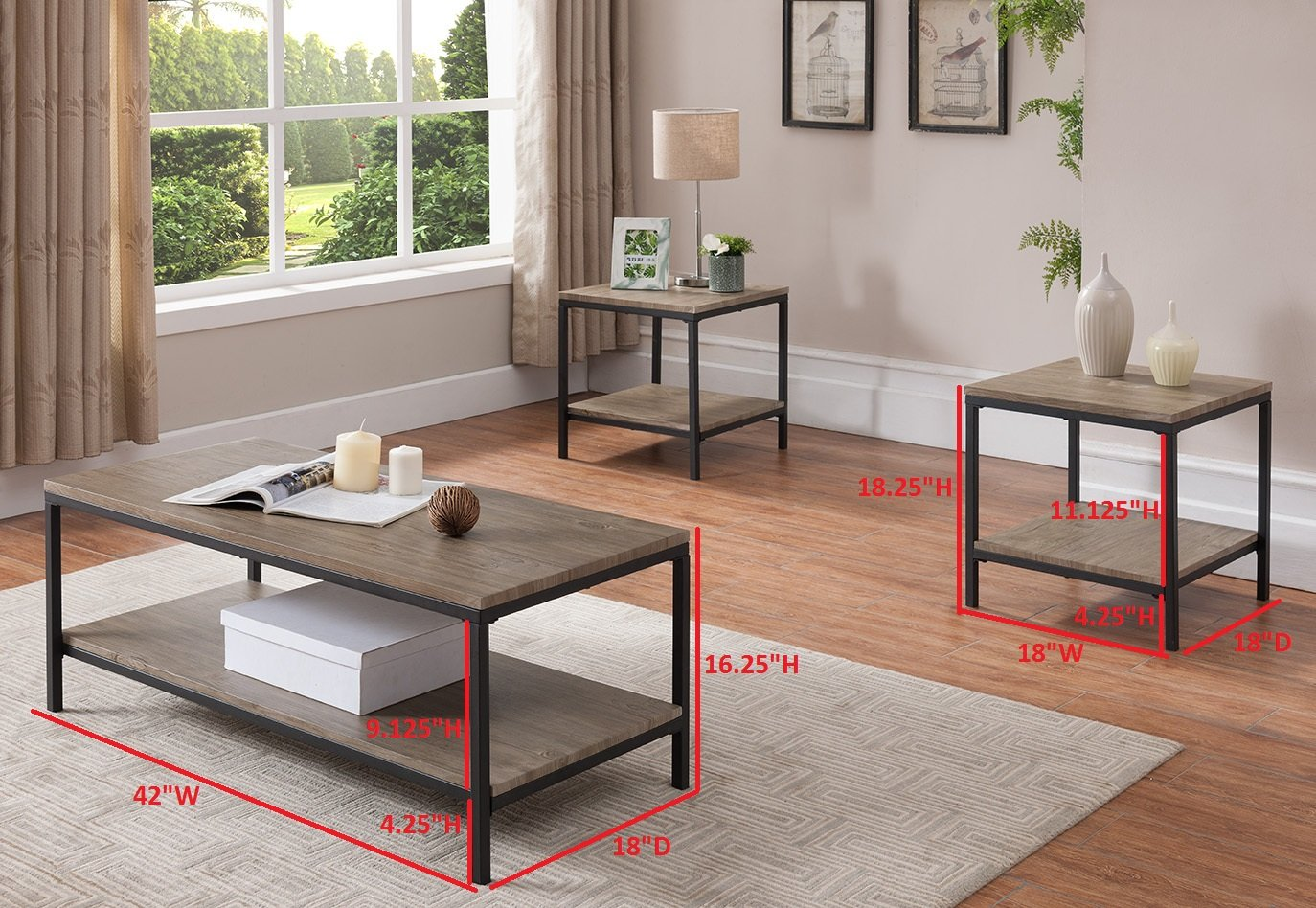 Kings Brand 3 Piece Gray / Black Occasional Table Set, Coffee Table & 2 End Tables by Kings Brand Furniture (Image #2)