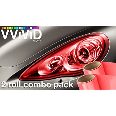 VViViD Red Gloss Vinyl Headlight Foglight Transparent Wet Tint Wrap Self-Adhesive 12 Inches x 24 Inches 2-Roll Pack: Automotive