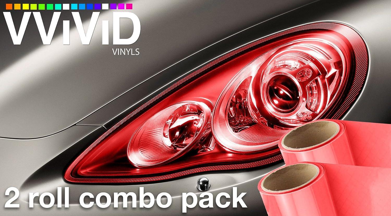 VViViD Red Gloss Vinyl Headlight Foglight Transparent Air Tint Wrap Self-Adhesive 17.9 x 60 Large roll