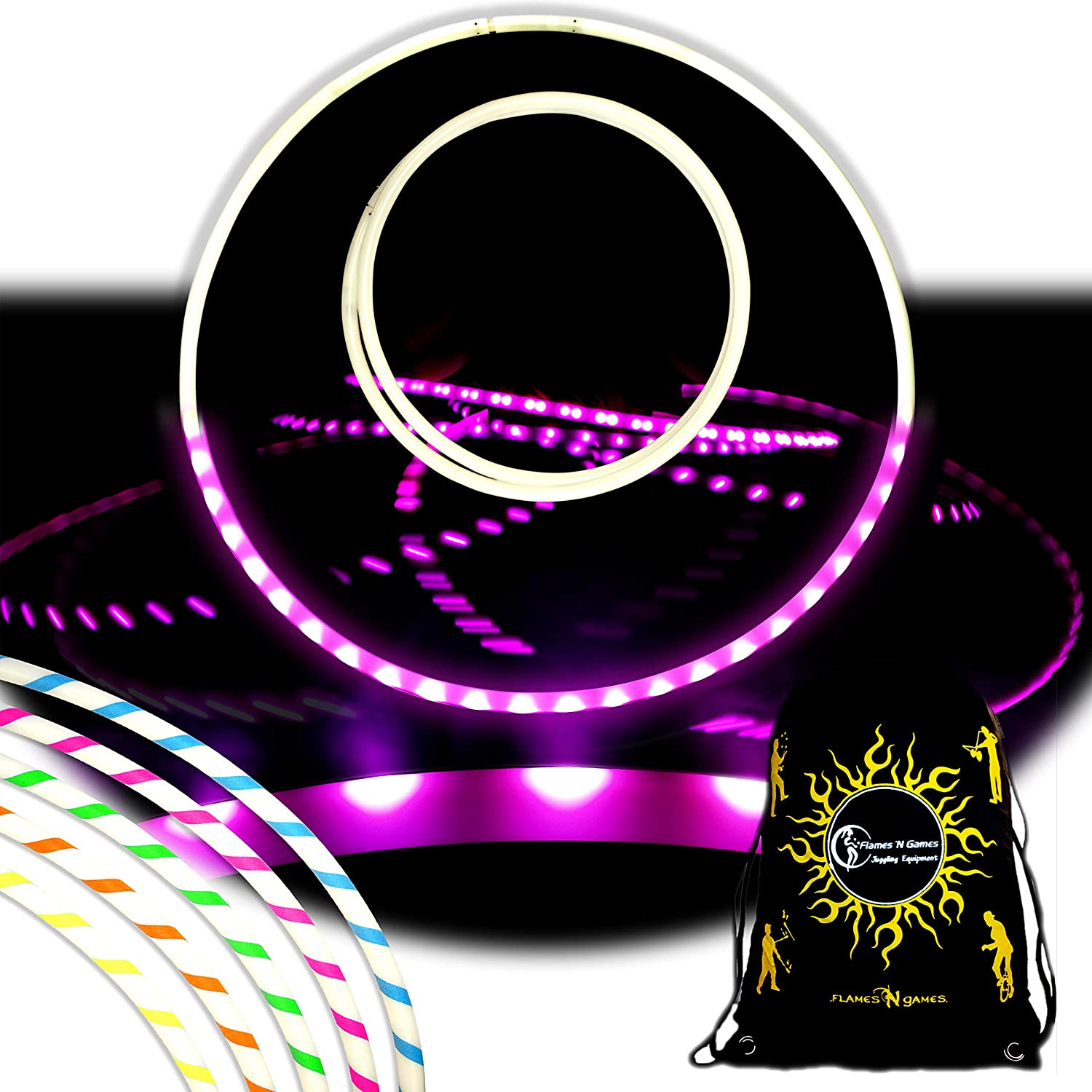 NEBULA Glow Rechargeable LED Hula Hoop - Single Coloured LED Hoop With Battery & Charger Included + Bag! Bright Colours For Hoop Dance And Excercise - 90cm! Flames 'N Games