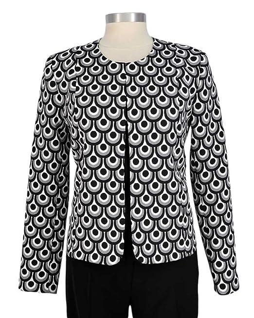 Cuello corto chaqueta redonda en color crudo negro jacquard ...