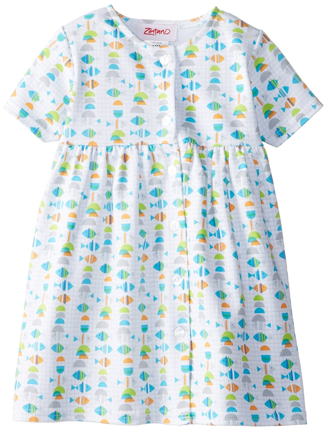 Zutano Baby Girls Fishies Shorts Sleeve Dress