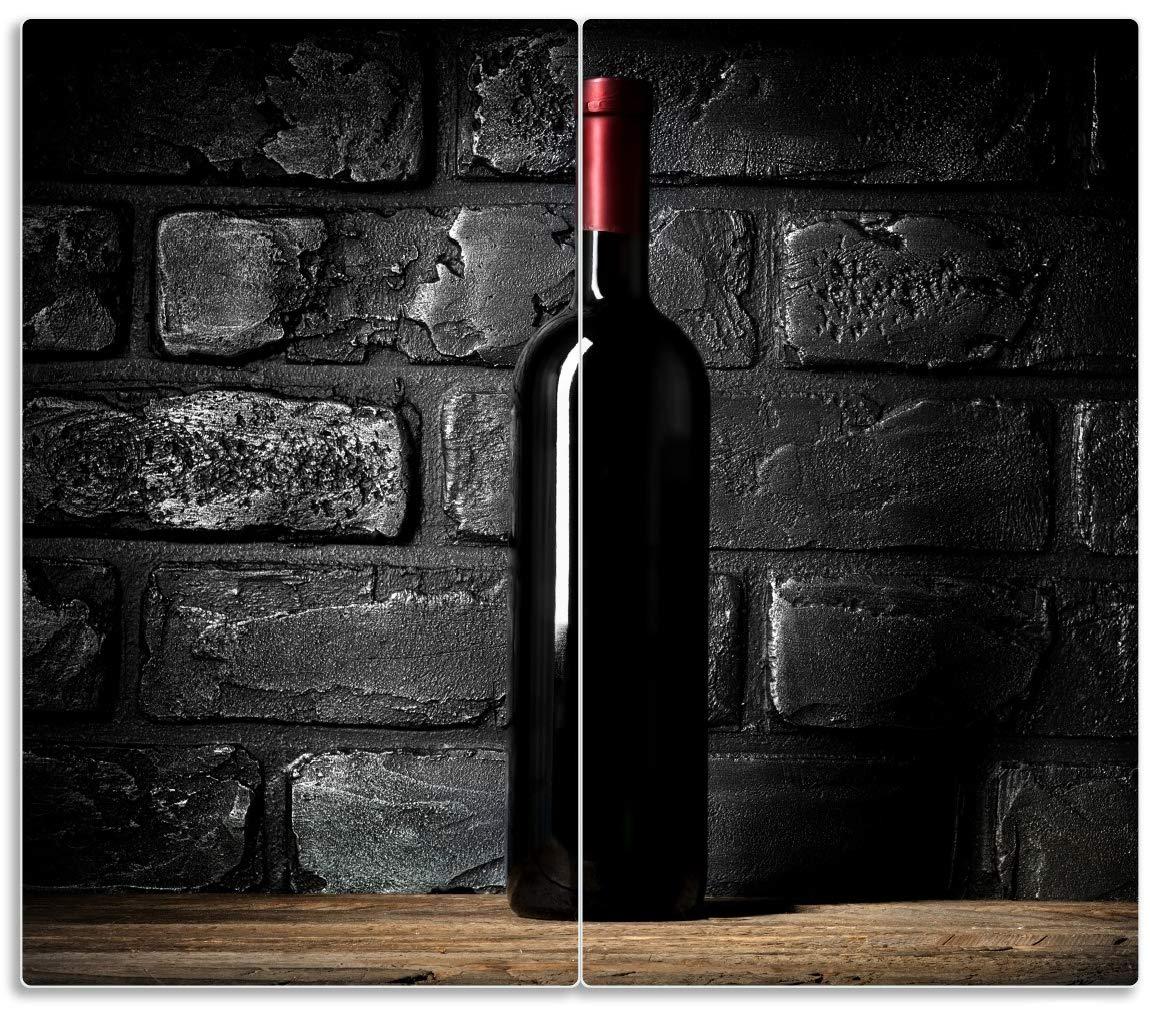 60x52cm Herdabdeckplatte 1-teilig aus Glas Rotwein Nacht Rotwein Glas Flasche