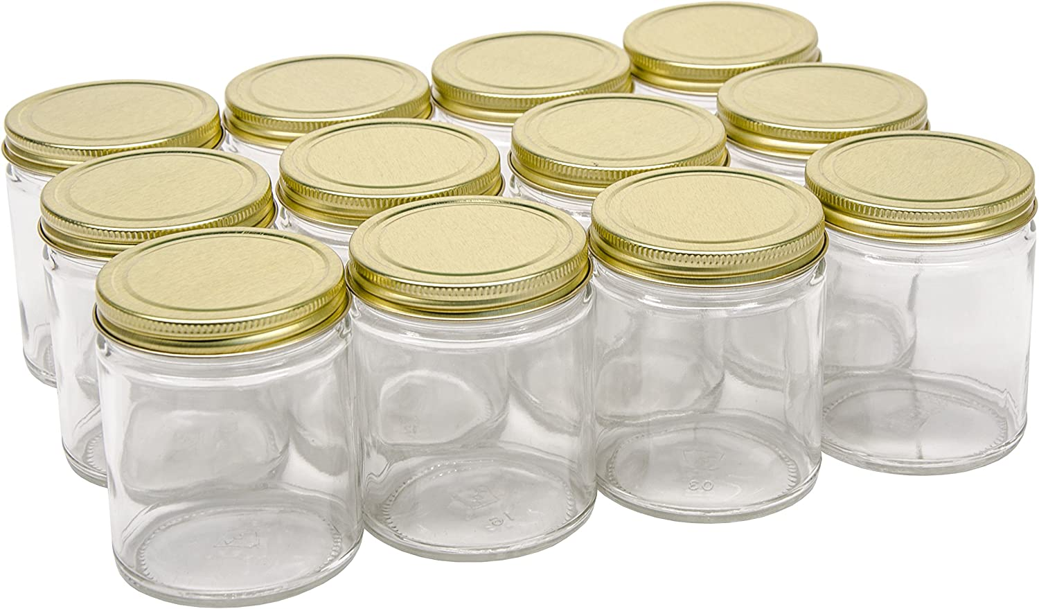 North Mountain Supply 9 Ounce Glass Straight Sided Mason Canning Jars- with 70mm Gold Metal Lids - Case of 12