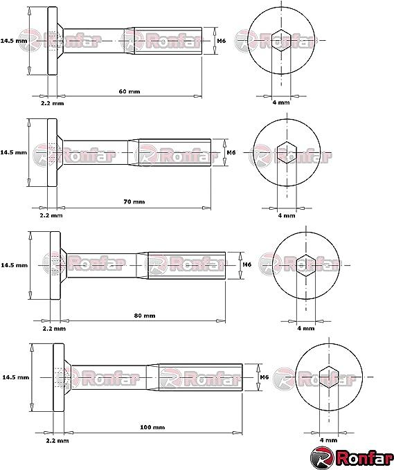 RONFAR Vis m/étriques /à t/ête cylindrique hexagonale enti/èrement filet/ées