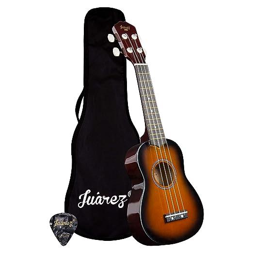 """[Apply coupon] Juarez Junior 21"""" Soprano Ukulele, Linden Wood Top & Body, Nylon Strings, Chrome Open Machine, Rosewood Fretboard with Gig Bag, 1 Pick, 3TS Sunburst"""