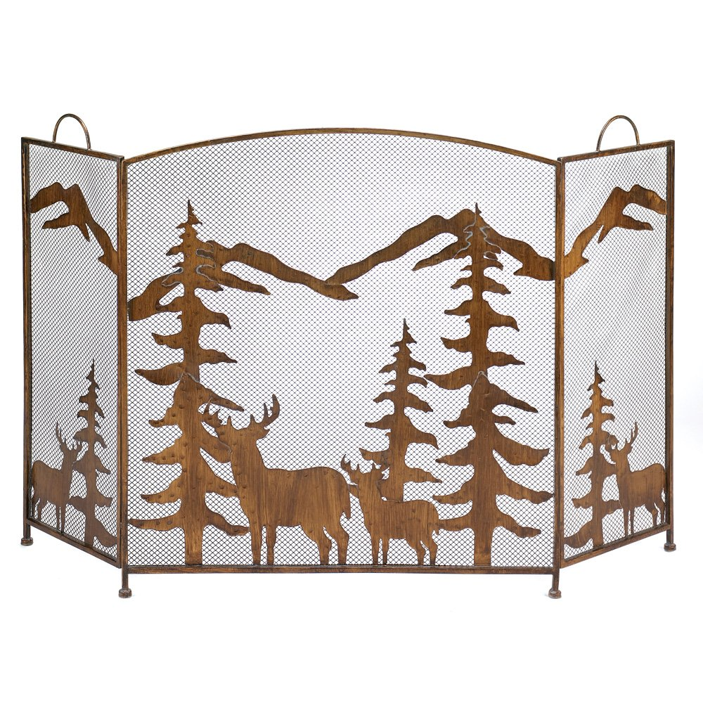 Gifts & Decor Rustic Forest Folding Fireplace Screen