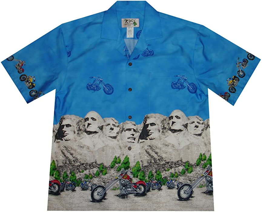 6fc43e887 KYS Hawaii Motorcycle Mount Rushmore Presidents Camp Hawaiian Shirt (S,  Navyblue)