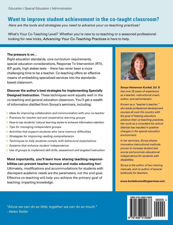 Amazon Com Advancing Co Teaching Practices Strategies For Success 9781468010688 Kunkel Sonya Heineman Kunkel Sonya Heineman Books
