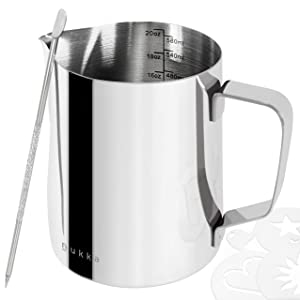 nukka Milk Frothing Pitcher 20oz - Stainless Steel Steaming Cup with Measurement Lines - Perfect for Cappuccino, Espresso, and Latte - Comes with Art Decorating Pen and Stencils (600ml)