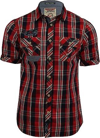 Tokyo Laundry Lozano - Camisa para hombre de cuadros, manga corta