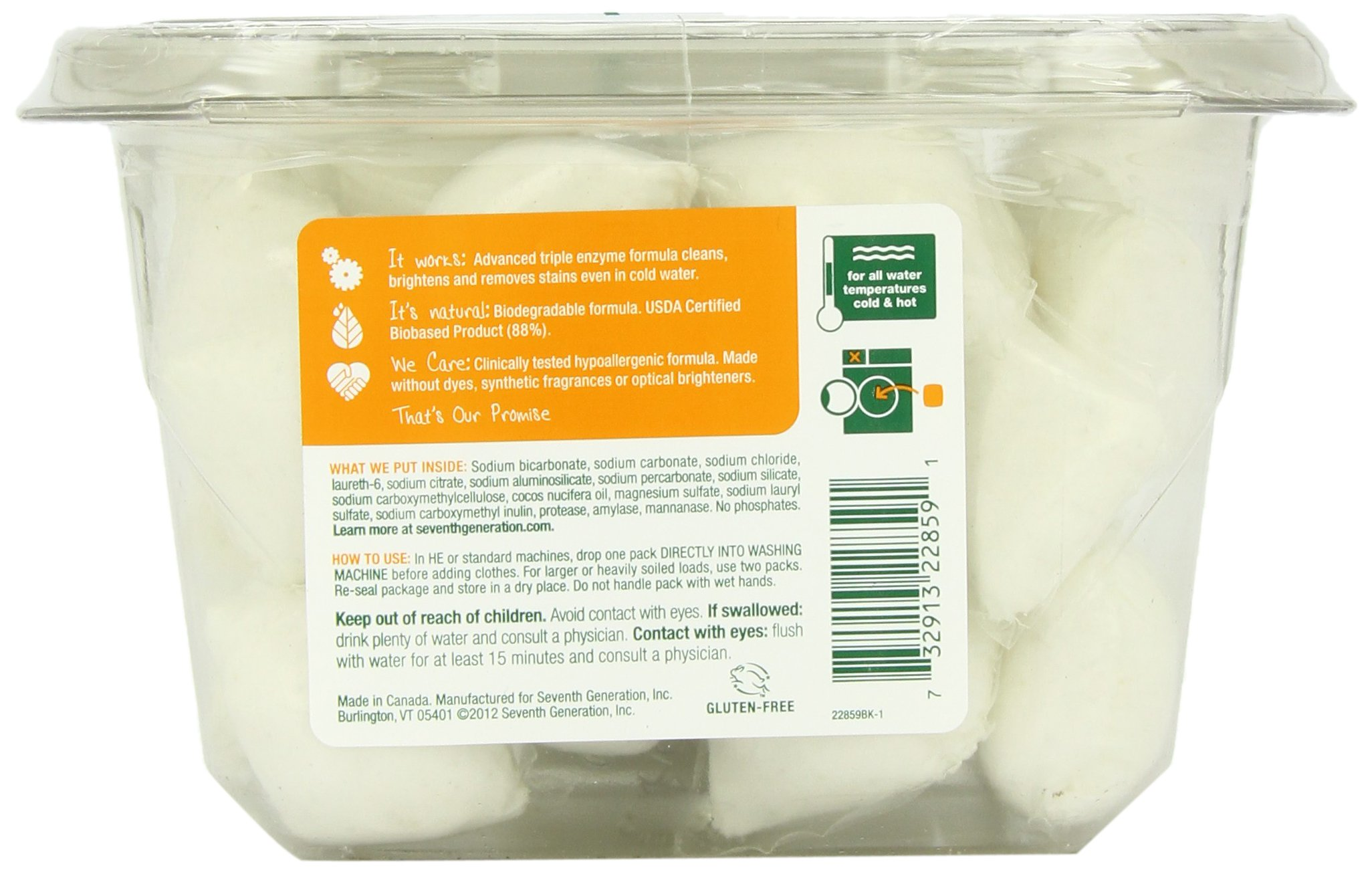 Seventh Generation Natural Laundry Detergent Packs, Free and Clear, 30 Count (pack of 2) by Seventh Generation (Image #2)