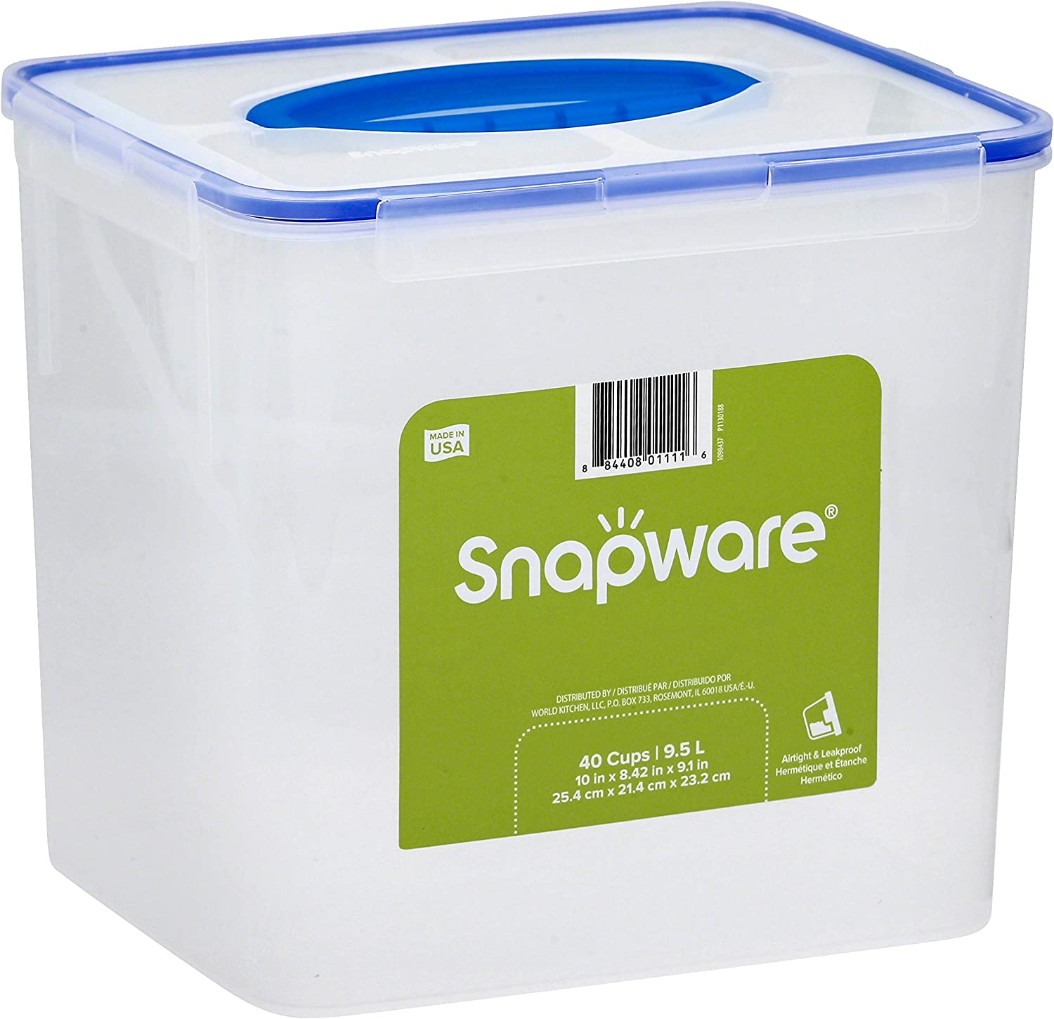 Snapware Airtight Plastic Food Storage Container (40-Cup, BPA Free, Meal Prep, Leak-Proof, Microwave, Freezer and Dishwasher Safe)