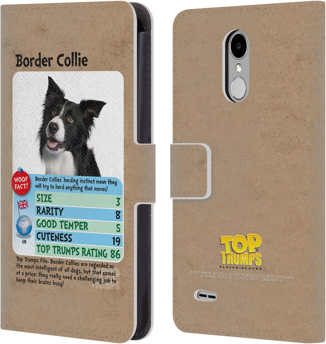 Official Top Trumps Border Collie Dogs 2 Leather Book Wallet Case Cover Compatible for LG Stylus 3 / K10 Pro