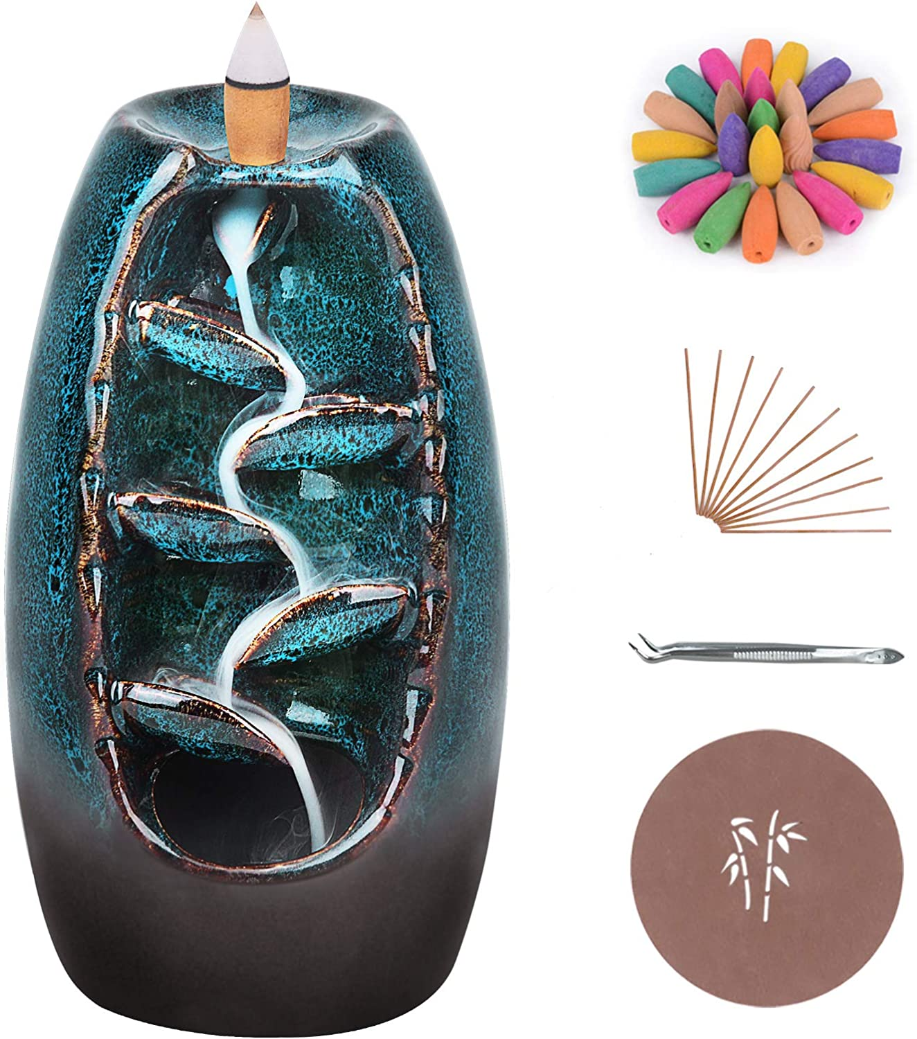 Ronlap Backflow Incense Burner, Ceramic Waterfall Smoke Incense Holder with 120 Upgraded Incense Cones+30 Incense Sticks+1 Tweezer+1 Mat, for Aromatherapy Meditation Home Decorations, Blue