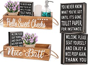AOZITA 1 Nice Butt Bathroom Decor Box & 2 Classic Box Signs, [All Double Side ], Bathroom Decor Set, Home Decor Clearance, Storage Bins for Toilet, Farmhouse Rustic Wood Organizer