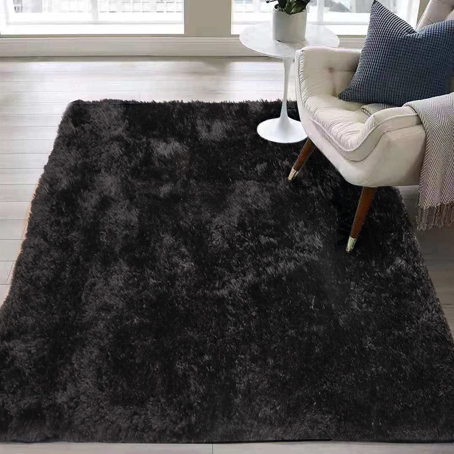 Little Joke Fluffy Area Rug 4' x 6', Soft Fuzzy Colorful Shaggy Rugs for Living Room, Girls Bedroom, Nursery, Baby Rooms, Home Decor Carpet 4x6 Feet, Black