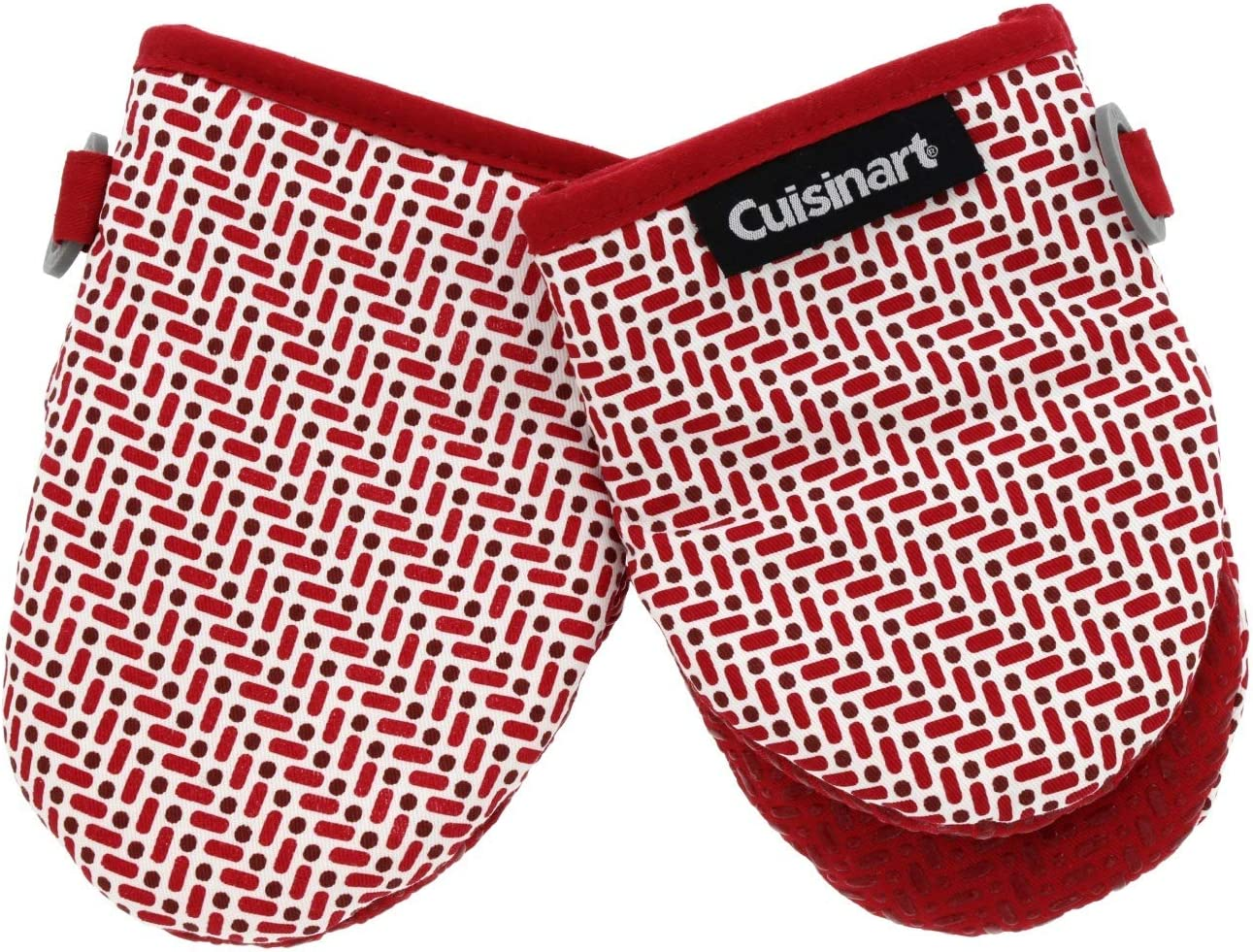 """Cuisinart Silicone Mini Oven Mitts, 2 Pack - Little Oven Gloves for Cooking-Heat Resistant, Non-Slip Grip, Hanging Loop, 5.5"""" x 7.5"""" -Ideal for Handling Hot Kitchen/Bakeware Items - Brick Print - Red"""