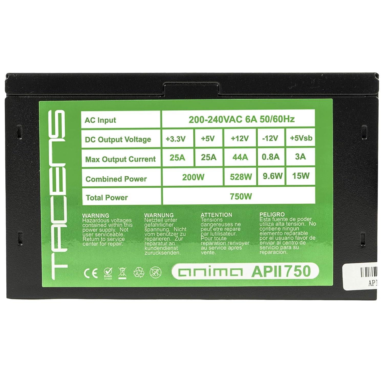 Anima APII750 750W, ATX, 12V, 14dB, PFC Activo, 80 Plus Bronce Negro Fuente de Alimentaci/ón PC