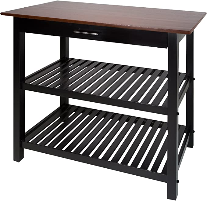 Amazon.com: Casual Home Kitchen Island with Solid American Hardwood Top, Walnut: Furniture & Decor