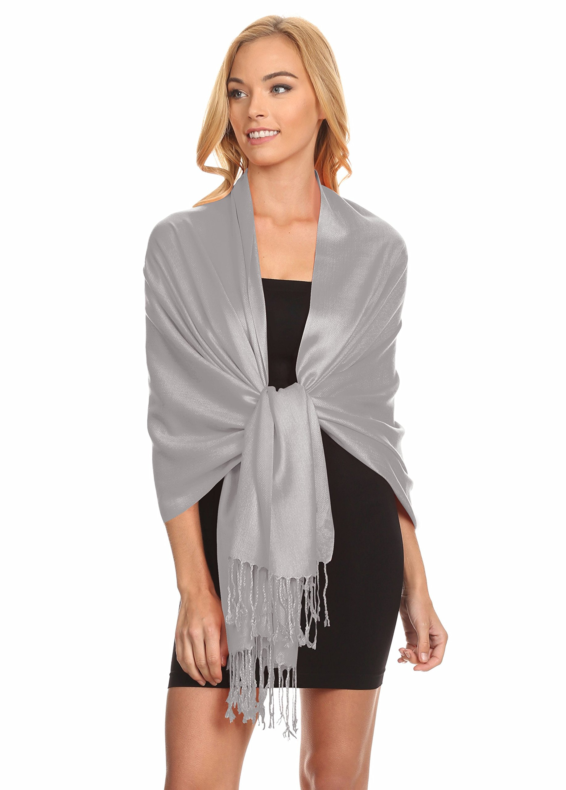 Simlu Wrap Scarf Pashmina Shawls and Wraps, Silky Wedding Scarf Stole for Women One Size Silver